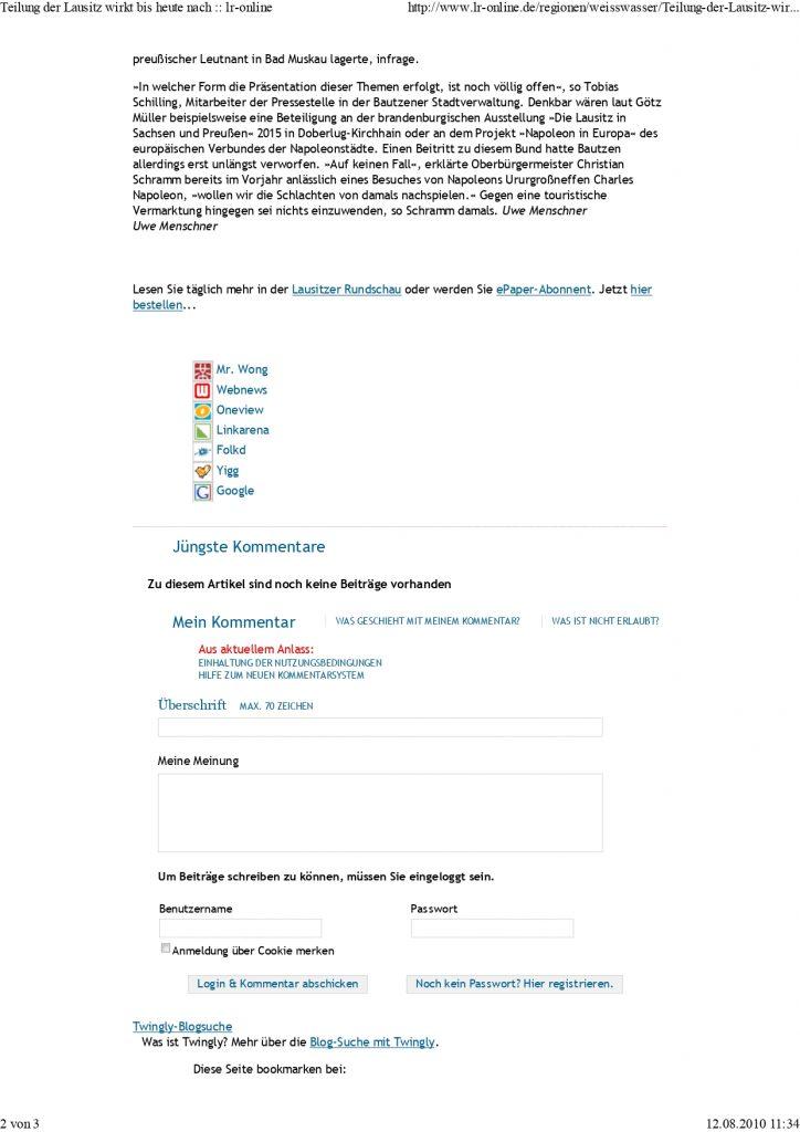 100807 Lausitzer Rundschau Teilung der Lausitz wirkt b.. page 0002